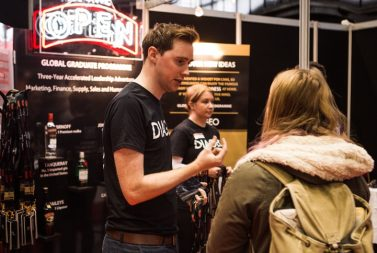 Prospective applicant chatting with a Diageo representative
