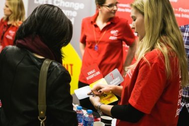 Virgin Media brand ambassador chatting with a potential applicant